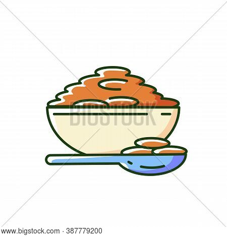 Lentils Rgb Color Icon. Natural Porrige Meals. Healthy Vegetarian Foods Ideas. Bowl Full Of Eco Grai