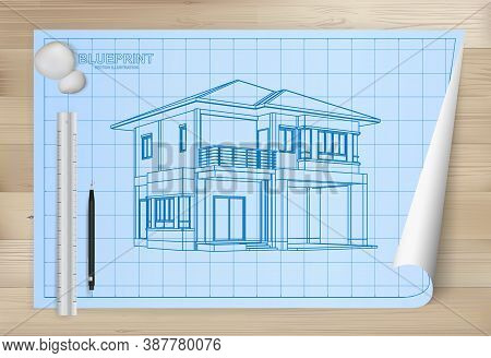 Idea Of House On Blueprint Paper Background. Architectural Drawing Paper On Wooden Texture Backgroun