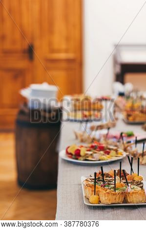 Catering Table Set Service At Restaurant Before Party