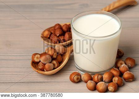 Hazelnut Non Dairy Milk And Hazelnuts Top View