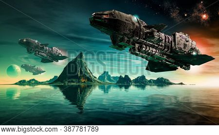 Futuristic Scifi Battle Space Ships Hover Over An Acid Ocean Of An Alien Planet, 3d Render.