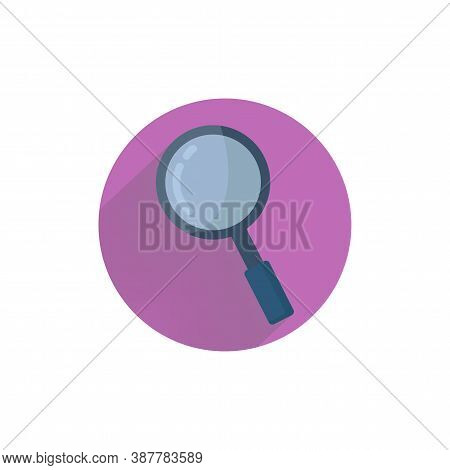 Magnifying Glass Or Search Colorful Flat Icon With Long Shadow. Magnifying Flat Icon