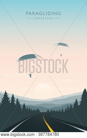 Paraglider In The Sky On Road And Mountain Background Vector Illustration Eps10