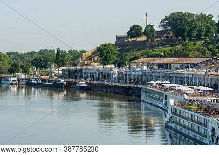 Passenger Ships And Riverboats Docked In The Port Of Belgrade In Serbia