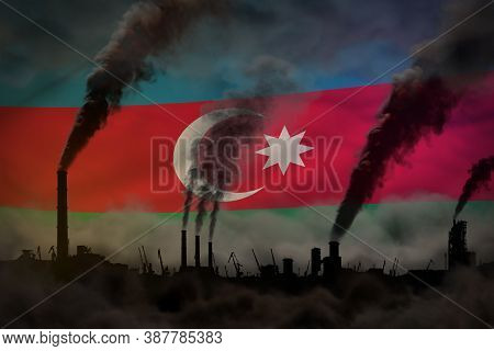 Dark Pollution, Fight Against Climate Change Concept - Industrial Pipes Heavy Smoke On Azerbaijan Fl