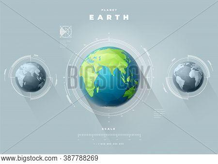 Polygonal Earth Hemispheres Map Infographics. Vector Planet