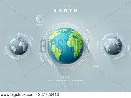 Polygonal Earth Hemispheres Map Infographics. Vector Globe