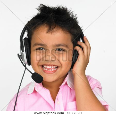 Asian Boy Of Indian Origin With Enjoying Music