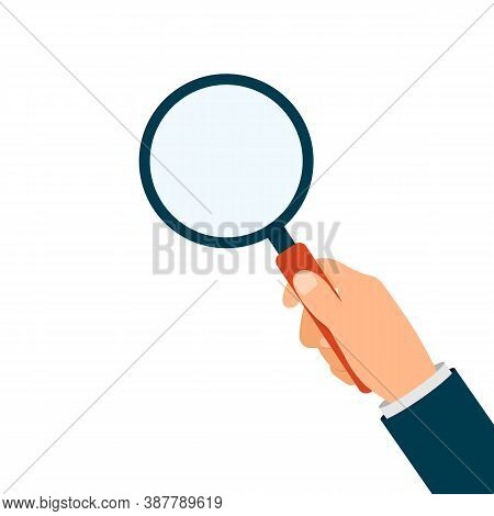 Hand Holding Magnifying Glass Isolated. Magnify Lens In Hand. Vector Eps10