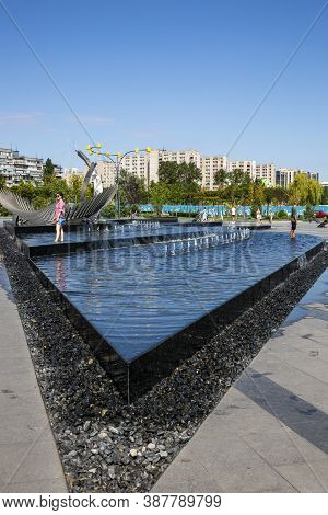 Dnepr, Ukraine - August 26, 2020: Fragment Of A New Recreation Park On The Embankment Of The City