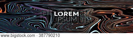 Vector Abstract Background, Web Banner With Marble Color Paint Texture Mix On Black