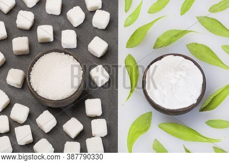 Refined Sugar And Powder Stevia Plant - Stevia Rebaudiana. Substitute For Refined Sugar By Stevia