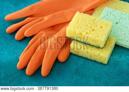 Rubber Gloves With Colorful Kitchen Sponges, Housekeeping. Cleaning Service Concept, Housework. Dish
