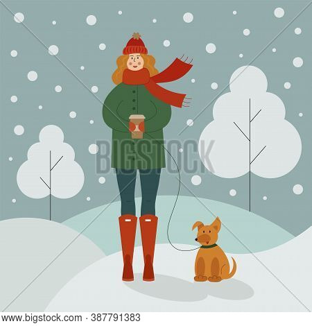 Vector Illustration Of A Cute Women In A Hat And Scarf With A Hot Drink In Her Hands, Walking In The