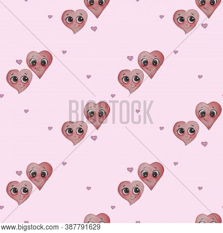 Love And Heart. Seamless Patterns. Two Playful And Cute Hearts With Faces, Eyes And A Smile On A Pin