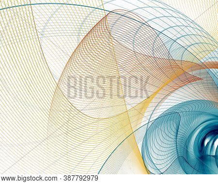Multi-colored Lines Intersect And Create Cells. Abstract Fractal Background With Technological Netwo