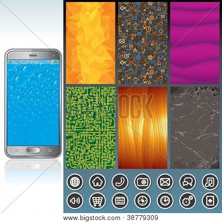 Vector Smart Phone Design Kit. Pack Including Wallpaper Set, Interface Buttons, Model of Abstract Phone...