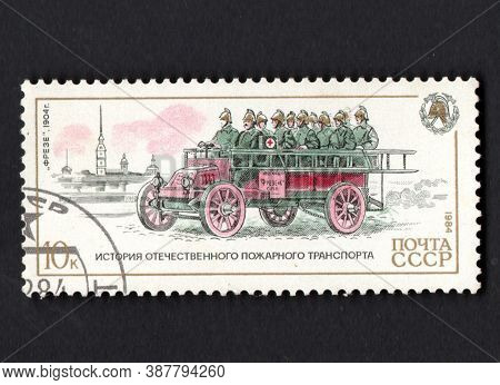 Ussr-circa 1987:vintage Fire Transport Represented On Soviet Post Stamps. Stamp Dedicated To Histori