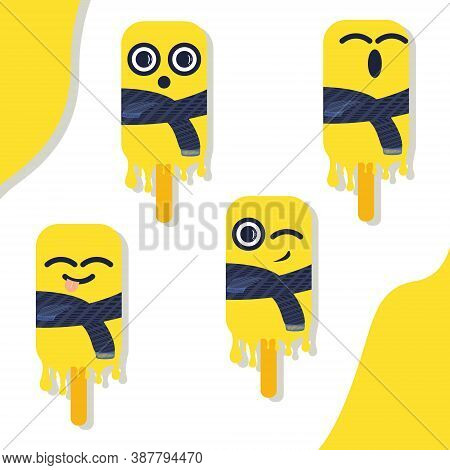 Bright Vector Illustration Of Colorful Melting Tease Wonder Wink Sing Ice Cream. Characters Minimali