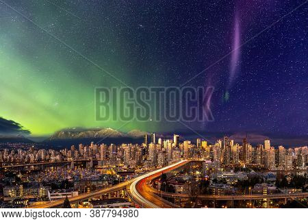 Downtown Vancouver, British Columbia, Canada. Beautiful Aerial Panoramic View Of A Modern City. City