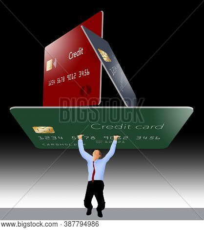 A Man Struggles To Hold Up 3 Giant Credit Cards That Represent Credit Card Debt. 3-d Image.