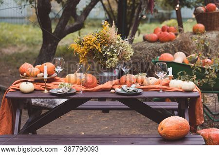 Fall Themed Holiday Table Setting Arrangement For A Seasonal Party, Glasses, Pumpkins, Candles, Fiel