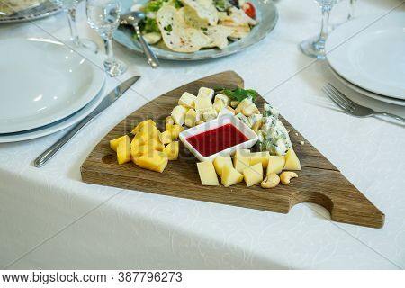 Cheese Plate, Cheese, Different Types Of Cheese On A Wooden Board, Cheese Sauce