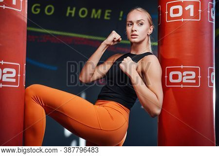 Seductive And Slim Blond Girl In Sportswear And With Clenched Fists Posing Near Two Punching Bags In