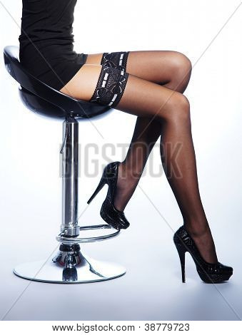 Beautiful legs in nice stockings over white background poster