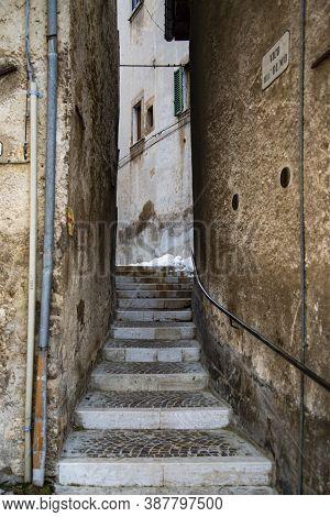 Old Street In A Small Italian Village In Abruzzi, Italy
