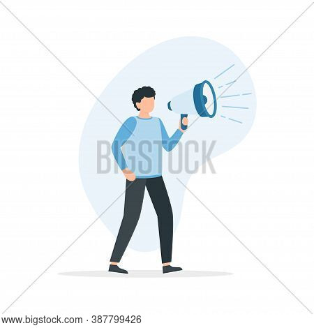 Man Shouting Through A Megaphone. Announcement, Information, Notification Vector Illustrations