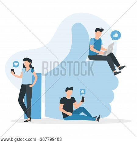 Like, Comment, Share. People In Social Media. Guys And Women Near Big I Like Symbol. Vector Illustra