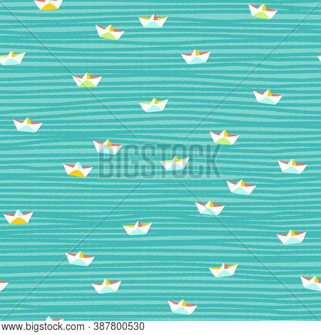 Cute Small Paper Boats Seamless Vector Pattern. Colorful Small Scale Summmer Design With White Hand