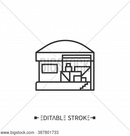 Warehouse Line Icon. Product Storage. Production Logistics. Storage Building. Stages And Elements Of