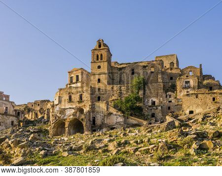 Stunning View Of Craco Ruins, Ghost Town Abandoned After A Landslide, Basilicata Region, Southern It
