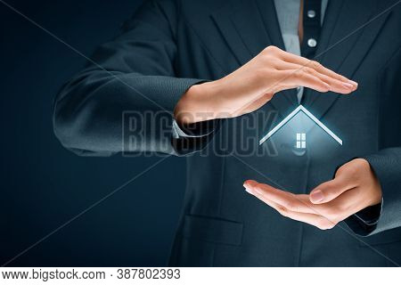 Real Estate Agent Offer House. Property Insurance And Security Concept With Protective Gesture.