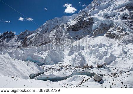 View Of Khumbu Glacier From Everest Base Camp, Himalayas, Nepal. Incredible Photo.