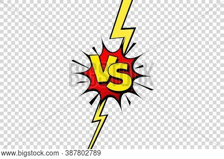 Comic Challenge Background. Cartoon Battle, Fight Border. Versus Or Vs Frame With Lightning. Sports