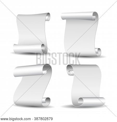 Set Of White Curved Paper Blank Banners Isolated On White Background.