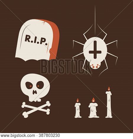Duotone Cartoon Halloween Symbols Set. Smiley And Evil Emotions