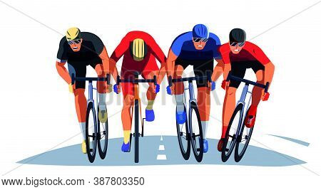 Men S Bicycle Race. Cyclists At The Finish Line Are Fighting For The Victory. Final Sprint Front Vie