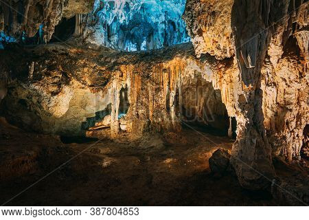 Nerja, Malaga Province, Andalusia, Spain. Cuevas De Nerja - Famous Caves. Different Rock Formations,