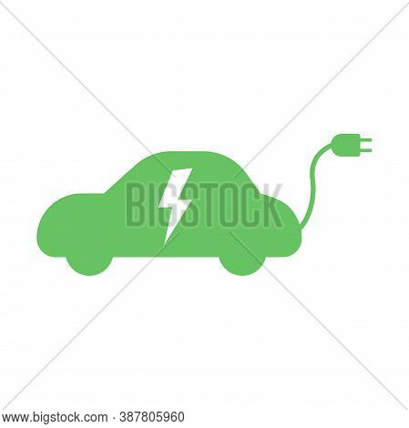 Electric Green Car With Plug Icon Symbol Isolated. Hybrid Vehicle Charging Station Road Sign Templat