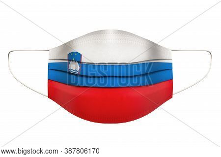 Medical Mask With Slovenian Flag. 3d Rendering Isolated On White Background