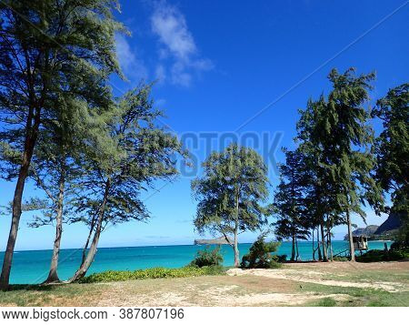 Waimanalo Beach Park With Lifeguard Stand By The Ocean And Manana (rabbit) Island In The Distance Oa