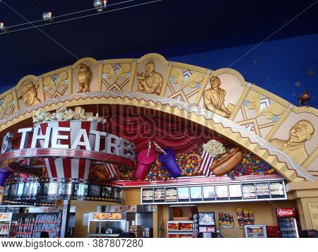 San Francisco - September 15, 2008: Movie Theater Concession Stand With Display Of Menus, Large Repl