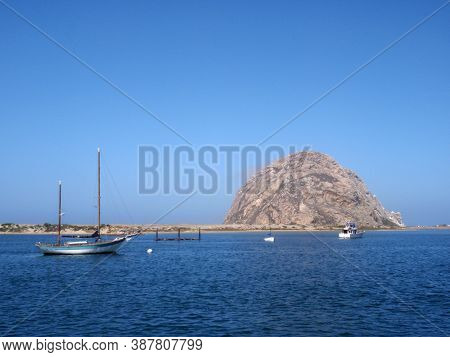 California, Usa - September 8, 2009: Boats In The Ocean And Morro Rock In The Distance..