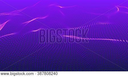 Futuristic Illustration. 3d Glowing Abstract Digital Particles Background. Vector Wave Pattern. Wave
