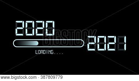 Happy New Year 2020 With Loading To Up 2021. White Led Neon Sign Digital Time Style. Progress Bar Al