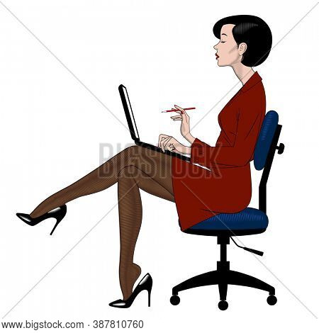 Beautiful young woman in red dress sitting on office chair with computer notebook. Retro business concept. Vintage color engraving stylized drawing